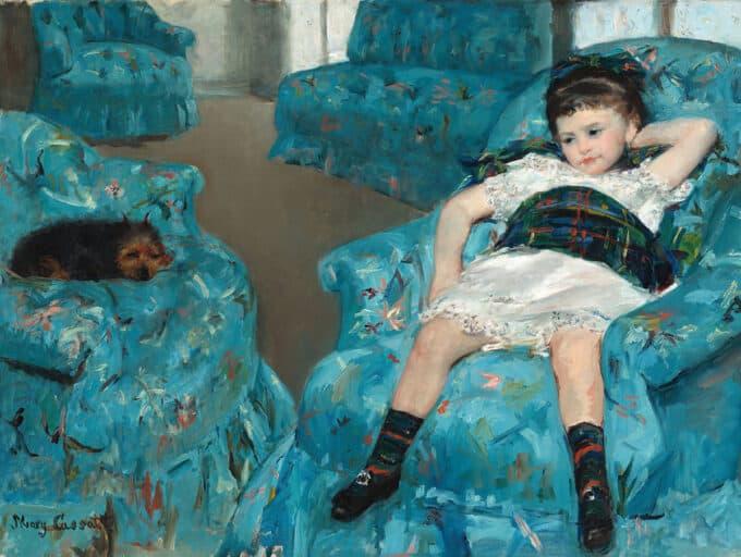 دختر-کوچک-روی-صندلی-آبی---مری-کسات