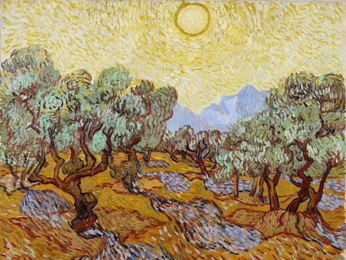 درختان-زیتون-با-آسمان-زرد-و-خورشید---ونسان-ون-گوگ