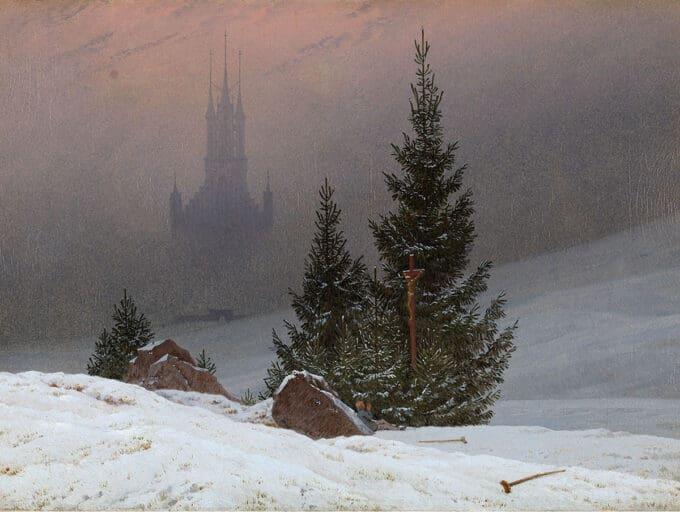 چشم-انداز-زمستانی-با-کلیسا---کاسپار-داوید-فریدریش